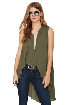 Womens Sleeveless Deep V-neck Pleated Long Chiffon Blouse Army Green