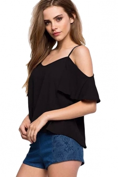Womens Straps Ruffle Cold Shoulder Blouse Black
