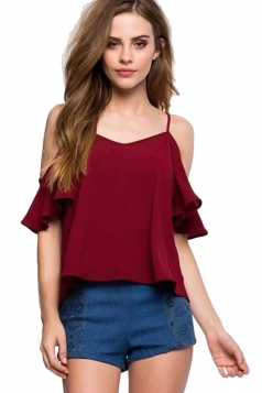 Womens Straps Ruffle Cold Shoulder Blouse Ruby