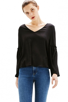 Womens Fashion Plain V-neck Flare Sleeve Blouse Black