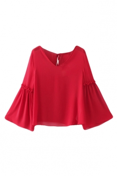 Womens Fashion Plain V-neck Flare Sleeve Blouse Red