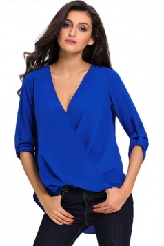 Womens V-neck 3/4 Length Sleeve Crew Neck High Low Blouse Blue