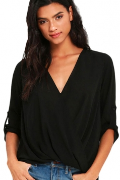 Womens V-neck 3/4 Length Sleeve Crew Neck High Low Blouse Black