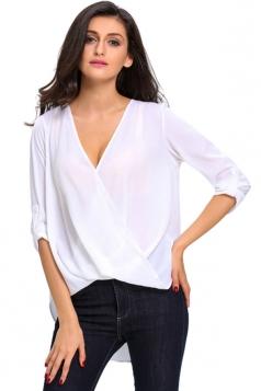 Womens V-neck 3/4 Length Sleeve Crew Neck High Low Blouse White