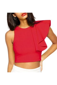 Womens Sleeveless Asymmetrical Ruffle Zipper Short Top Blouse Red