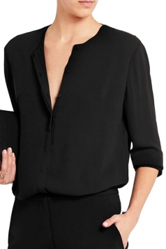 Womens Sexy Chiffon Open Back Deep V-neck Blouse Black