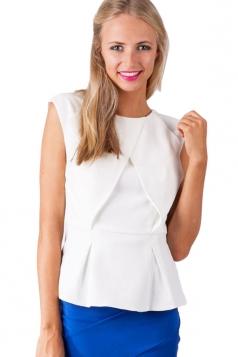 Womens Sexy Plain Zipper Ruffle Open Back Blouse White