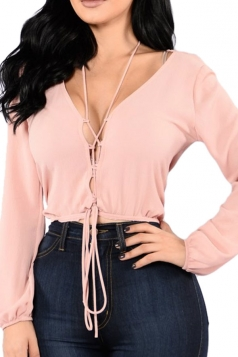 Womens Sexy Deep V-neck Lace-up Chiffon Long Sleeve Blouse Pink