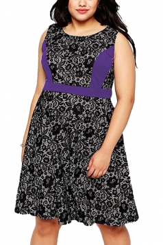 Womens Lace Patchwork Plus Size Sleeveless Midi Dress Purple