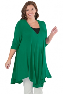 Womens Plus Size V Neck Asymmetric Long Sleeve Plain Dress Green