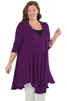 Womens Plus Size V Neck Asymmetric Long Sleeve Plain Dress Purple