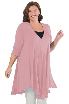 Womens Plus Size V Neck Asymmetric Long Sleeve Plain Dress Pink