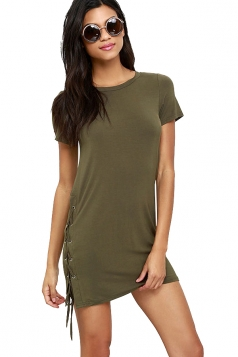 Womens Sides Lace Up Short Sleeve Mini Shirt Dress Army Green
