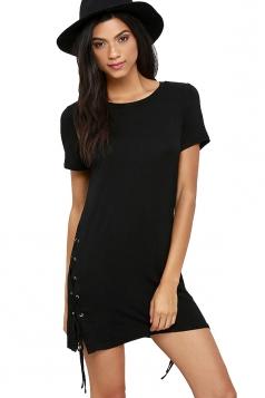 Womens Sides Lace Up Short Sleeve Mini Shirt Dress Black