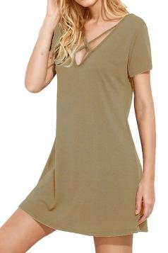 Womens Crisscross V Neck Short Sleeve Plain Shirt Dress Khaki