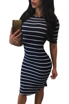 Womens Crewneck Short Sleeve Striped Midi Bodycon Dress Blue