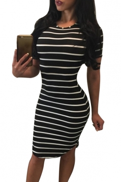 Womens Crewneck Short Sleeve Striped Midi Bodycon Dress Black