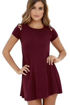Womens Cutout Shoulder Short Sleeve Plain Smock Dress Ruby