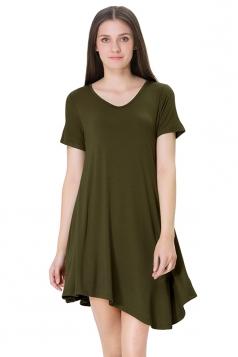 Womens V Neck Short Sleeve Asymmetric Pleated Shirt Dress Army Green