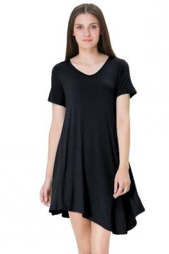Womens V Neck Short Sleeve Asymmetric Pleated Hem Shirt Dress Black