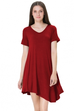 Womens V Neck Short Sleeve Asymmetric Pleated Hem Shirt Dress Ruby