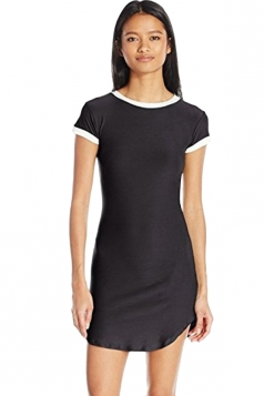 Womens Simple Short Sleeve Mini Shirt Dress Black