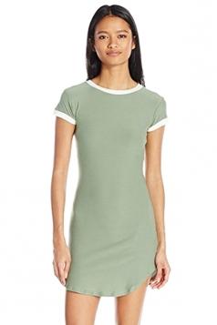 Womens Simple Short Sleeve Mini Shirt Dress Green
