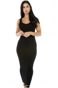 Womens Stretchy Slimming Long Tank Dress Black