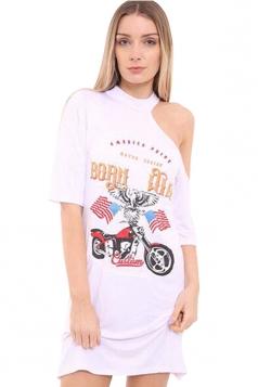 Womens One Cold Shoulder Eagle Motorbike Print Mini Shirt Dress White