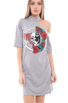 Womens One Cold Shoulder Rose Skull Printed Mini Shirt Dress Gray