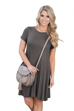 Womens Crewneck Short Sleeve Plain Smock Dress Gray