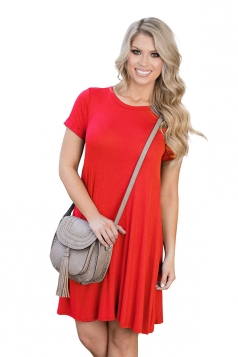 Womens Crewneck Short Sleeve Plain Smock Dress Red