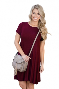 Womens Crewneck Short Sleeve Plain Smock Dress Ruby