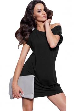 Womens Boat Neck Plain Short Sleeve Smock Dress Black