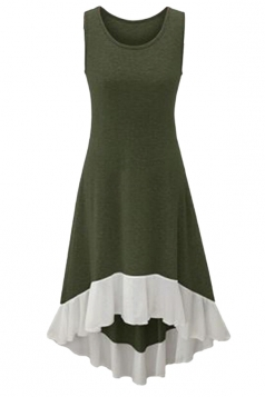 Womens Chiffon Hem High Low Sleeveless Skater Dress Army Green