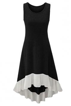 Womens Chiffon Hem Splicing High Low Sleeveless Skater Dress Black
