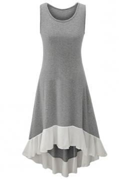 Womens Chiffon Hem Splicing High Low Sleeveless Skater Dress Gray