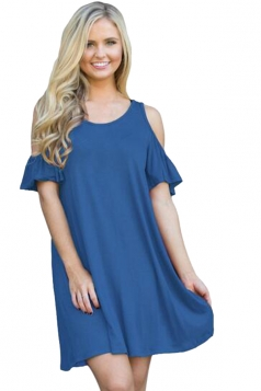 Womens Cute Cold Shoulder Crew Neck Smock Dress Blue