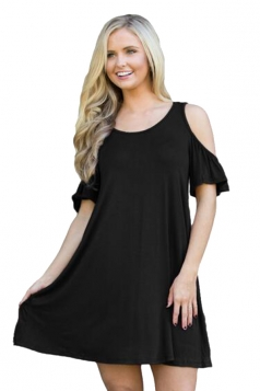 Womens Cute Cold Shoulder Crew Neck Smock Dress Black