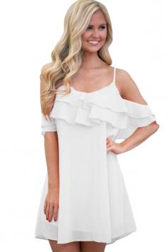 Womens Ruffle Double Layered Adjustable Straps Smock Dress White