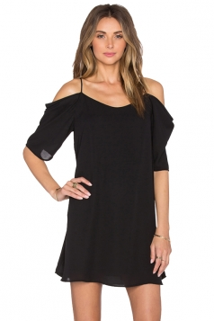 Womens Chiffon Straps Cold Shoulder Half Sleeve Smock Dress Black
