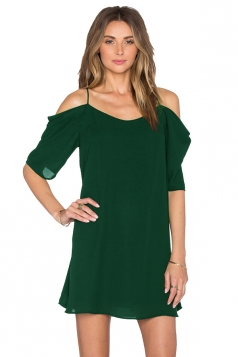 Womens Chiffon Straps Cold Shoulder Half Sleeve Smock Dress Green
