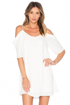 Womens Chiffon Straps Cold Shoulder Half Sleeve Smock Dress White