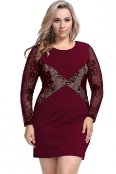 Womens Plus Size Lace Patchwork Crew Neck Long Sleeve Dress Ruby
