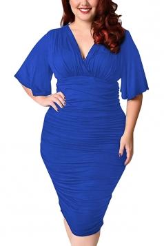 Womens Plus Size Deep V-neck Pleated Ruffle Sleeve Dress Blue