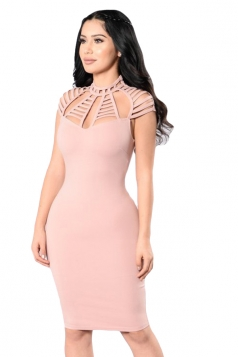 Womens Hollow Out Plain Bodycon Clubwear Dress Pink