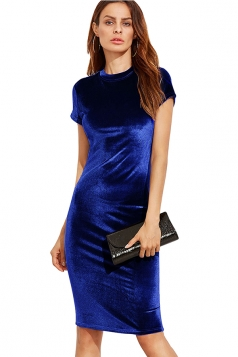 Womens Slimming Short Sleeve Plain Midi Bodycon Dress Blue