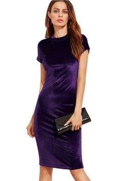 Womens Slimming Short Sleeve Plain Midi Bodycon Dress Purple