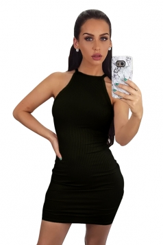 Womens Sleeveless Plain Mini Bodycon Dress Black
