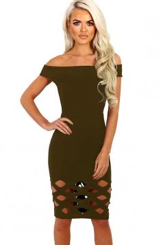 Womens Off Shoulder Cut Out Plain Bandage Midi Dress Army Green